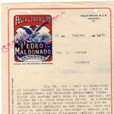 Cartas comerciais: PASTAS PARA SOPA. PEDRO MALDONADO. ZARAGOZA.. Lote 45850251
