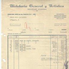 Cartas comerciales: CARTA COMERCIAL METALARIA GENERAL Y ARTÍSTICA, BILBAO 21 OCTUBRE 1954. Lote 45920919