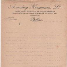 Cartas comerciales: CARTA COMERCIAL ARANDUY HERMANOS: IMPORTACIÓN DE PRODUCTOS QUÍMICOS. BILBAO 1924. Lote 46423566