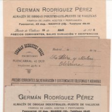 Lettere commerciali: 3 HOJAS PEDIDO GERMÁN RODRÍGUEZ PÉREZ: FÁBRICA JABÓN, ACEITES, PERFUMERÍA. PUENTE DE VALLECAS 1924. Lote 46465048