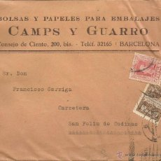 Cartas comerciales: SOBRE CARTA CAMPS Y GUARRO - BARCELONA - SELLO EXPOSICION INTERNACIONAL BARCELONA 1929 -. Lote 46801393