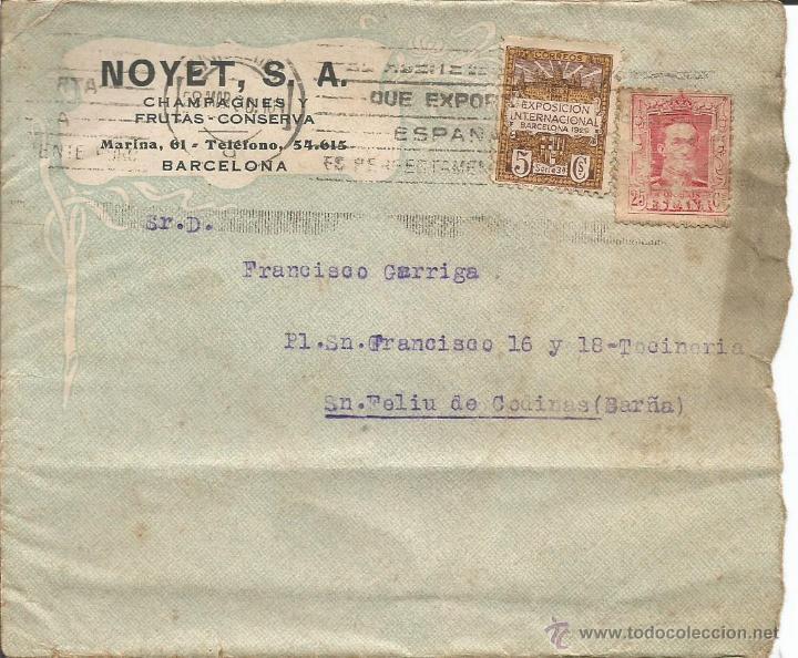 SOBRE CARTA NOYET CHAMPAGNES Y FRUTAS - CONSERVAS - BARCELONA - SELLO EXPOSICION BARCELONA 1929 (Coleccionismo - Documentos - Cartas Comerciales)
