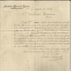 Cartas comerciales: FACTURA DE ANDRÉS MARMOL UREÑA. TORREDONJIMENO. JAÉN. 1892. Lote 46876039