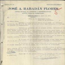 Cartas comerciales: CARTA COMERCIAL DE JOSÉ A. RABADÁN FLORES. AGENTE COMERCIAL. ESPINARDO. MURCIA. 1926. Lote 46877145