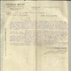 Cartas comerciales: CARTA COMERCIAL DE ESTEBAN BACHS. PAPELES Y CARTONES. BARCELONA. 1910. Lote 46877186