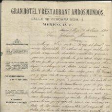 Cartas comerciales: CARTA COMERCIAL DE GRAN HOTEL Y RESTAURANT AMBOS MUNDOS. MÉXICO. MÉXICO. 1909. Lote 46877928