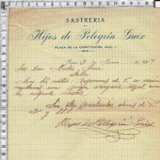 Cartas comerciales: CARTA COMERCIAL FECHADA EN REUS-SASTRERIA DE HIJOS DE PELEGRIN GUIX-1907.. Lote 47015265