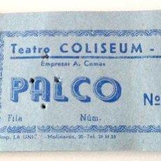 Cartas comerciales: BLOQUE COMPLETO 100 ENTRADAS (TACO) TEATRO COLISEUM LA PUEBLA (MALLORCA) PALCO! AÑOS 60!!!. Lote 47091238