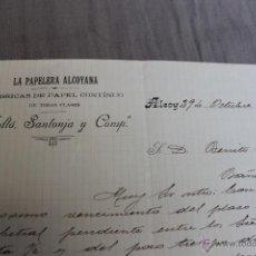 Cartas comerciales: LA PAPELERA ALCOYANA, MOLTO, SANTONJA Y COMP. ALCOY (ALICANTE) OCTUBRE 1906. Lote 50006876