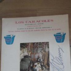 Cartas comerciales: CARTA DE RESTAURANTE LOS CARACOLES BARCELONA AÑOS 70 FIRMADO PROPIETARIO SR BOFARULL INCLUYE POSTAL. Lote 49979927