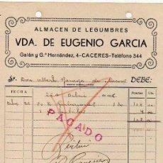 Lettere commerciali: VDA DE EUGENIO GARCÍA. ALMACÉN DE LEGUMBRES. CÁCERES.. Lote 47602467