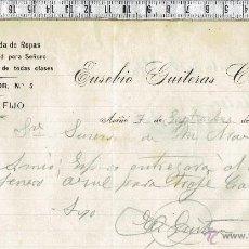 Cartas comerciales: CARTA COMERCIAL SASTRERIA Y TIENDAS DE ROPAS EUSEBIO GUITERAS COSTA-AVIÑÓ1904.. Lote 47703191