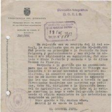 Cartas comerciales: CARTA COMERCIAL. PRESIDENCIA DEL GOBIERNO. DELEGACIÓN INDUSTRIAS SIDERÚRGICAS. MADRID 19 ENERO 1943.. Lote 47789710