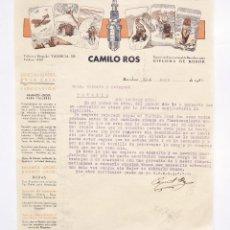 Cartas comerciales: CARTA COMERCIAL FABRICA DE MAGNETOS Y BUJIAS PARA MOTORES DE EXPLOSION CAMILO ROS. BARCELONA 1934. Lote 48389258