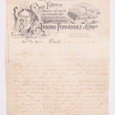 Cartas comerciales: CARTA COMERCIAL GRAN FABRICA DE SIERRAS MECANICAS LA OVETENSE. ANTONIO FERNANDEZ Y CIA. OVIEDO 1906. Lote 48389514