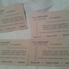 Cartas comerciales: LOTE DE CUATRO ANTIGUAS TARJETAS COMERCIALES EN CARTON DE TINTORERIAS MADRID-CANARIAS. Lote 48700343