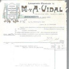 Lettres commerciales: LITOGRAFÍAS RELIEVES M Y A VIDAL, DORADOS, CROMOS GRABADOS FAJAS ETIQUETAS, BARCELONA 11 ENERO 1930. Lote 48807412