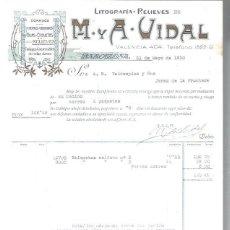 Lettres commerciales: LITOGRAFÍAS RELIEVES M Y A VIDAL, DORADOS, CROMOS GRABADOS FAJAS ETIQUETAS, BARCELONA 31 MAYO 1930. Lote 48807415