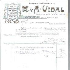 Lettres commerciales: LITOGRAFÍAS RELIEVES M Y A VIDAL, DORADOS, CROMOS GRABADOS FAJAS ETIQUETAS, BARCELONA 30 JUNIO 1930. Lote 48807418