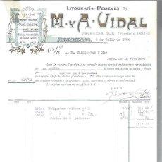 Lettres commerciales: LITOGRAFÍAS RELIEVES M Y A VIDAL, DORADOS, CROMOS GRABADOS FAJAS ETIQUETAS, BARCELONA 9 JULIO 1930. Lote 48807423
