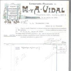 Lettres commerciales: LITOGRAFÍAS RELIEVES M Y A VIDAL, DORADOS, CROMOS GRABADOS FAJAS ETIQUETAS, BARCELONA 15 JULIO 1930. Lote 48807427