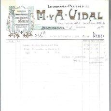 Lettres commerciales: LITOGRAFÍAS RELIEVES M Y A VIDAL, DORADOS, CROMOS GRABADOS FAJAS ETIQUETAS, BARCELONA 29 OCT 1930. Lote 48807430