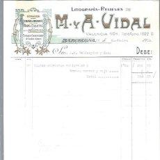 Lettres commerciales: LITOGRAFÍAS RELIEVES M Y A VIDAL, DORADOS, CROMOS GRABADOS FAJAS ETIQUETAS, BARCELONA 22 NOV 1930. Lote 48807432