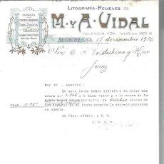 Lettres commerciales: LITOGRAFÍAS RELIEVES M Y A VIDAL, DORADOS, CROMOS GRABADOS FAJAS ETIQUETAS, BARCELONA 17 DIC 1930. Lote 48807435