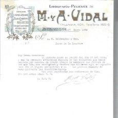 Lettres commerciales: LITOGRAFÍAS RELIEVES M Y A VIDAL, DORADOS, CROMOS GRABADOS FAJAS ETIQUETAS, BARCELONA 27 ENER 1930. Lote 48807438