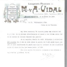 Lettres commerciales: LITOGRAFÍAS RELIEVES M Y A VIDAL, DORADOS, CROMOS GRABADOS FAJAS ETIQUETAS, BARCELONA 12 ABRIL 1930. Lote 48807440