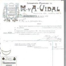 Lettres commerciales: LITOGRAFÍAS RELIEVES M Y A VIDAL, DORADOS, CROMOS GRABADOS FAJAS ETIQUETAS, BARCELONA 31 MARZO 1930. Lote 48807442
