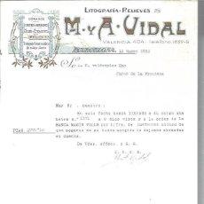 Lettres commerciales: LITOGRAFÍAS RELIEVES M Y A VIDAL, DORADOS, CROMOS GRABADOS FAJAS ETIQUETAS, BARCELONA 14 ENERO 1930. Lote 48807446
