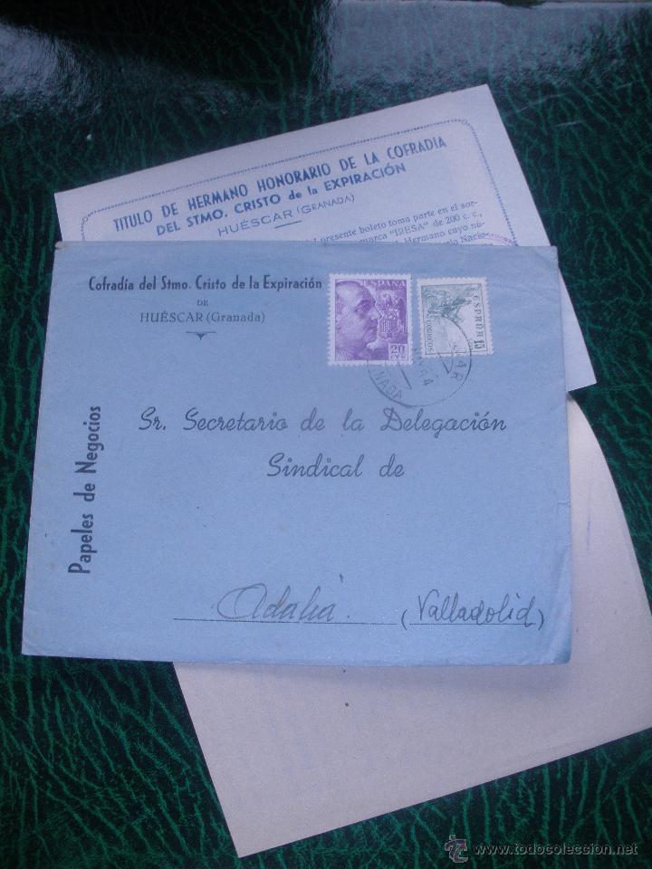 CARTA1954,SORTEO PRIMER ANIVERSARIO, COFRADIA DEL STMO.CRISTO DE LA EXPIRACION-HUESCAR (GRANADA). (Coleccionismo - Documentos - Cartas Comerciales)