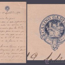 Cartas comerciales: L20-19 CASINO DE CADIZ - 1896 - CARTA DUPLEX DE J.M. LACOSTE A ENRIQUE (MAC PHERSON) ALERTÁNDOLE DE . Lote 48957162