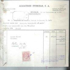 Cartas comerciales: CARTA COMERCIAL ALMACENES ITURRIZAR, PRODUCTOS QUÍMICOS PERFUMERÍA, BILBAO 17 NOVIEMBRE 1958. Lote 49558700