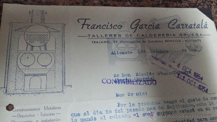ANTIGUA CARTA COMERCIAL CALDERERIA BENALUA ALICANTE (Coleccionismo - Documentos - Cartas Comerciales)