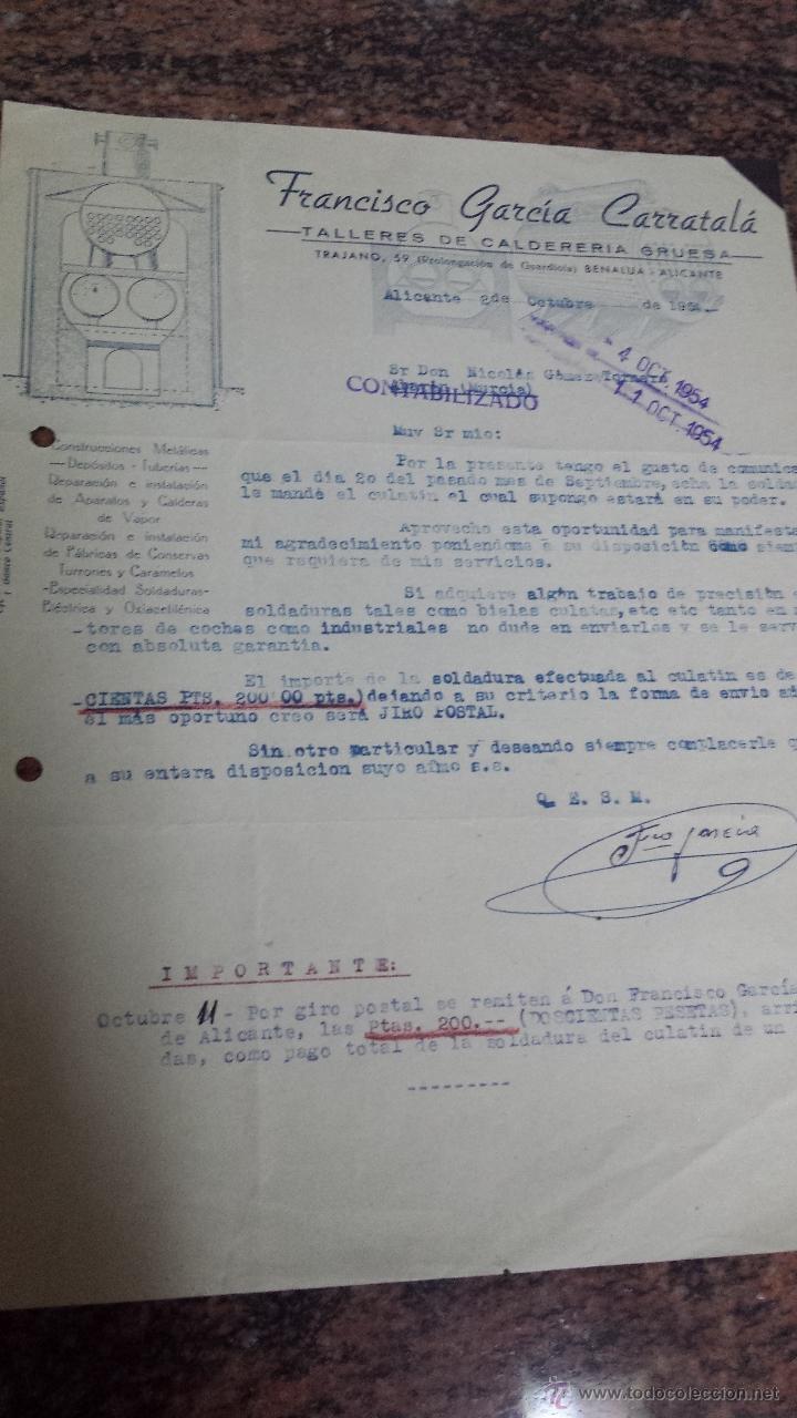 Cartas comerciales: ANTIGUA CARTA COMERCIAL CALDERERIA BENALUA ALICANTE - Foto 2 - 49660521