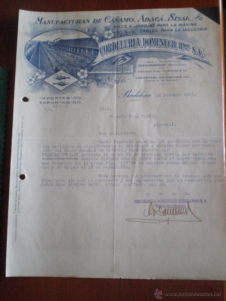 1933 BADALONA (BARCELONA). CARTA COMERCIAL CORDELERIA DOMENECH. MANUFACTURAS CAÑAMO, ABACA, SISAL (Coleccionismo - Documentos - Cartas Comerciales)