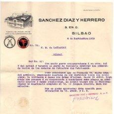 Cartas comerciales: CARTA COMERCIAL FABRICA DE UTENSILIOS DE COCINA SANCHEZ DIAZ Y HERRERO. BILBAO, AÑO 1915. Lote 49894749
