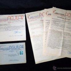 Cartas comerciales: LOTE DOCUMENTOS EMBUTIDOS AGUILAR. FABRICA DE EMBUTIDOS. BENAOJAN (MÁLAGA). AÑOS 50. Lote 221999338