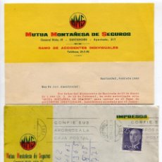 Cartas comerciales: MUTUA MONTAÑESA DE SEGUROS DE SANTANDER, CARTA CON IMPRESO, MATASELLOS DE 1983. Lote 50076238
