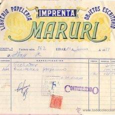 Cartas comerciais: FACTURA COMERCIAL IMPRENTA MARURI. EIBAR. GUIPUZCOA. AÑO 1958. Lote 50090283