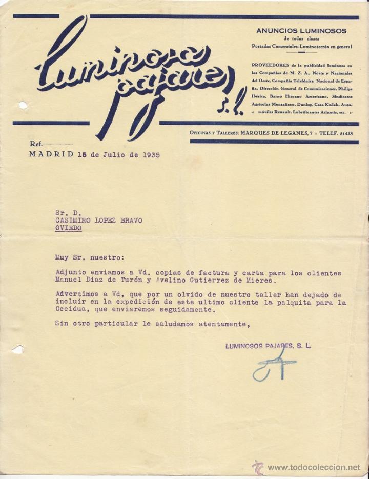 CARTA COMERCIAL. LUMINOSOS PAJARES. MADRID 1935. (Coleccionismo - Documentos - Cartas Comerciales)
