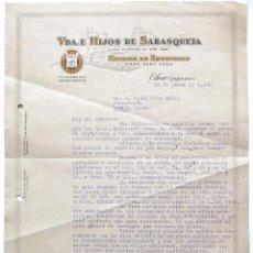Cartas comerciales: CARTA COMERCIAL FABRICA DE ESCOPETAS PARA CAZA MUNICIONES VDA. E HIJOS SARASQUETA EIBAR GUIPUZCOA 19. Lote 50192091