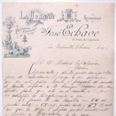 Cartas comerciales: CARTA COMERCIAL PASTELERIA CONFITERIA LA URBANA JOSE ECHAVE SAN SEBASTIAN 1906. Lote 50215673