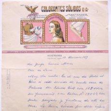 Cartas comerciales: CARTA COMERCIAL COLORANTES SOLIDOS ANTONIO LOPEZ. CHAMPU AMERY SANTANDER 1957. Lote 50216219