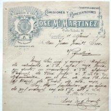Cartas comerciales: CARTA COMERC. EXPORTADOR DE VINOS AGUARDIENTES ALCOHOLES JOSE Mª MARTINEZ TOMELLOSO CIUDAD REAL 1906. Lote 50216267