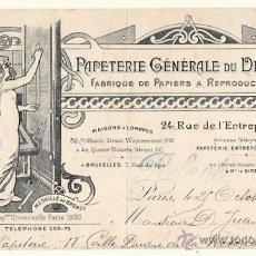 Cartas comerciales: CABECERA CARTA COMERCIAL PAPETERIE GÉNÉRALES DU DESSIN. PARIS. AÑO 1902. Lote 50458875