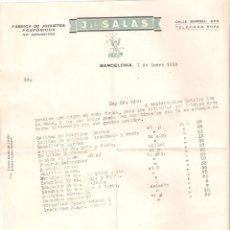 Cartas comerciales: FRA LISTAS DE PRECIO DE J. SALAS. BARCELONA. PIROTECNICA, FUEGOS ARTIFICIALES. 1952. VELLO I BELL. Lote 50481470