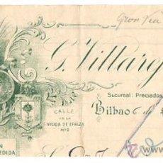 Cartas comerciales: CABECERA CARTA COMERCIAL G. VILLAREJO. ESPECIALIDAD EN CALZADO. BILBAO, AÑO 1922. Lote 50496355